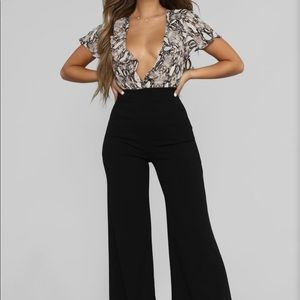 She's A Viper Ruffle Front Jumpsuit - Black/Combo